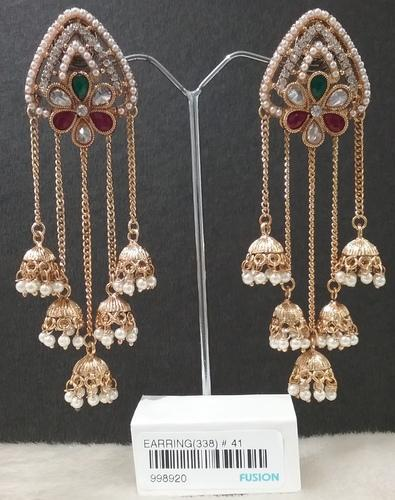 Pearl Chandelier Jhumka Earrings, Moti Ki Baaliyan - Fusion Arts ...