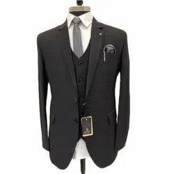 Party Check Mens Black Formal Suit, Size: M - XXL