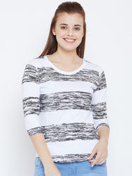 100% Cotton Women's Black Strip T-Shirt