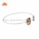 Bio Tourmaline Gemstone Fine Silver Cuff Bangle