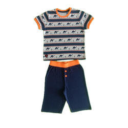 Blue And Orange Cotton Printed T Shirt And Short Set