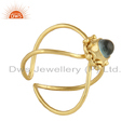 Natural Apatite Gemstone Handmade Yellow Gold Plated Silver 925 Ring Jewelry