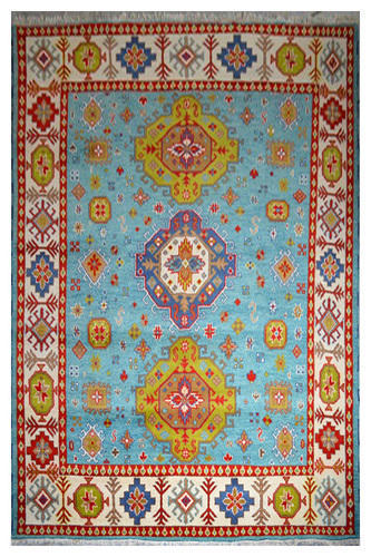 Hand Knotted Wool Indian Kazak Rug With Blue Color