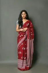 Block Printed Cotton Saree