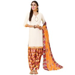 Off White Colored Glace Cotton Unstitched Casual Wear Salwar Suit