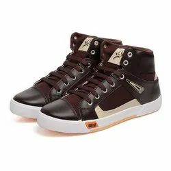 Mens Brown High Ankle Canvas Shoes