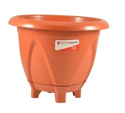 Brown Round 15 Ltr Plastic Planter, For Garden