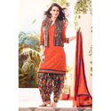 Cotton Orange Patiala Suit With Koti