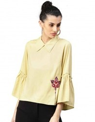 Women Rayon Full Sleeves Round Neck Beige Embroidered Straight Top