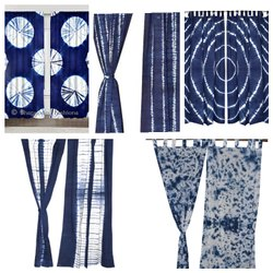 Indigo Blue Shibori Design Cotton Curtains