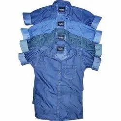 Collar Neck Mens Plain Denim Shirt, Size: M to XXL
