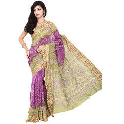 b408fcc066025 Gadhwal Bandhani Designer Saree with Blouse Piece