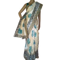 aArtyz Printed Off White & Rama Green Raw Silk Saree, With Blouse Piece