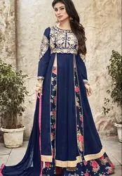 Blue Color Floral Ethnic Suit