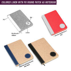 Colored Linen With Pu Round Patch A5 Notebook