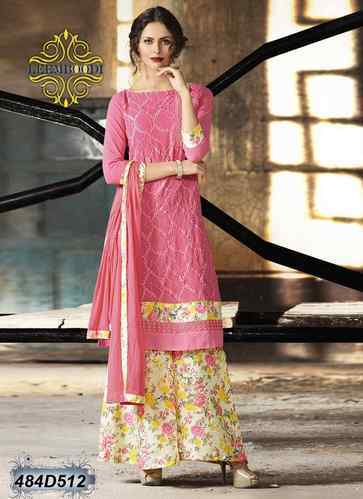 108bf4e4531 Georgette Pink Pakistani Palazzo Suit