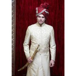 Cream Groom Sherwani