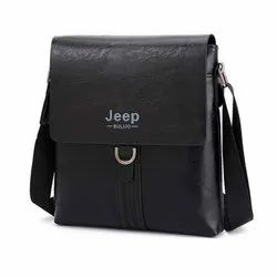 Sanchi Creation Black Leather Sling Bag, Weight: 300 Gm, Size: 9x2x10 In