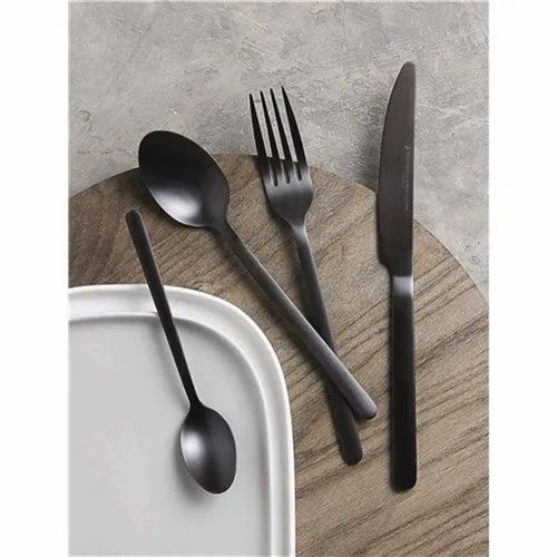 Home Arts Modern Black Gold Royal Cutlery