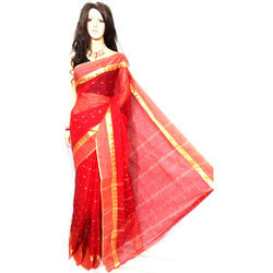 Party Wear Pure Cotton Tant Saree, Machine Made , 6 M (with Blouse Piece)