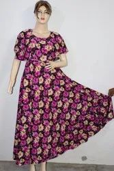Party Wear American Crepe Maxi Dress