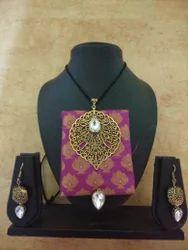 Golden Leaf Pendant Fabric Jewelry