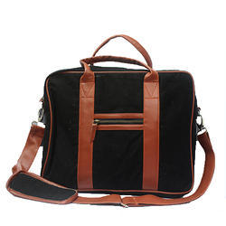 Black And Brown Leather Laptop Bag