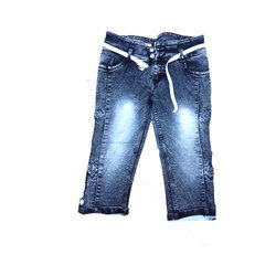 Denim Casual Wear Girls Kids Capri