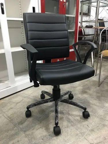 Black Pu Leather Office Chair Rs 3000 Piece Faizal Enterprise Id 22364257830