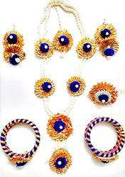 Blue Gota Patti Flower Jewelry Set With Pearls