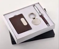 Leather Visiting Card Holder, Pen, Key Chain set