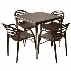 Brown Plastic Cello Dining Set, For Restaurant, Seating Capacity: 4 Seater