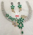 Green Sj American Diamond Set