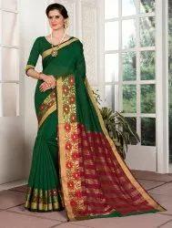 Festive Wear Cotton Silk Saree With Blouse Piece, 6.3 M