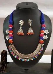 Maitri Threaded Half Round Oxidized Navratri Necklace Set, Size: Free