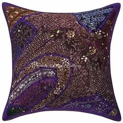Vintage Patchwork Beaded Cushion Cover