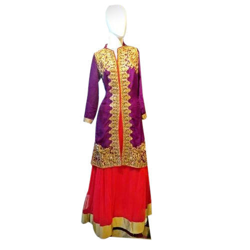 Net Ladies Full Sleeves Kurti with Skirt
