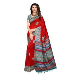 Dashing Red Colored Poly Silk Printed Casual Wear Saree