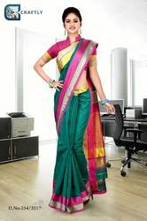 Green and Magenta Uniform Saree