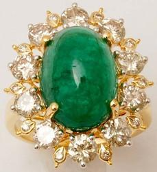 Cabochon Emerald Diamond Party Wear Cocktail Gold Ring