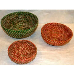 Bamboo Green And Orange Cane Basket