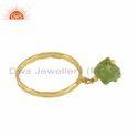 Natural Peridot Gemstone Womens Gold Plated Designer Silver Rings