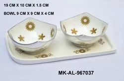 MKI Cream Metal Tray with bowls, For Home