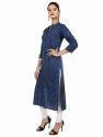 Women's Rayon Printed Navy Blue Kurta