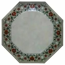 Indian White Marble Inlay Table Top