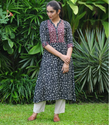 Black And White Block Printed Cotton Kurta