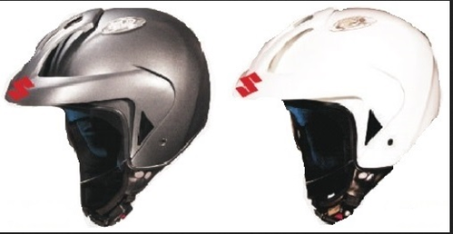 Grey & White Open Face Grey Helmet And White, Size: XL