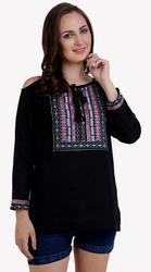 Galaxy Trendz Cotton Cold Shoulder Embroidered Top
