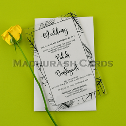 Single Fold Insert Border Transparent Acrylic Invitations, Size: 5 X 8