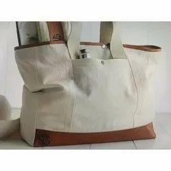 Anoo's Plain Canvas Leather Tote Bag, Size/Dimension: 15 X 17 Inch